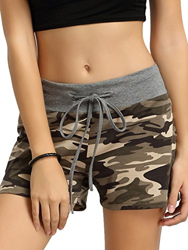 SweatyRocks Camouflage Workout Yoga Shorts Pants Hot Shorts for women L Women Camouflage Shorts