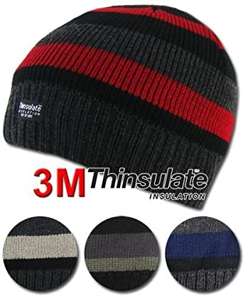 Men's Thinsulate Chenille / Beanie / Trapper Hat With Faux Fur / Polar Fleece Thermal Winter/Ski Hat (3M 40g) (3 Assorted Multi Strip Hat)