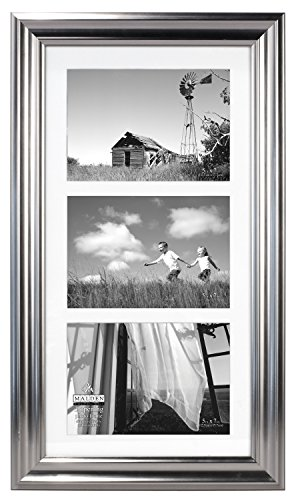 Malden International Designs Pewter Classic Matted 3 Opening Collage Picture Frame, 5 by 7-Inch, Silver