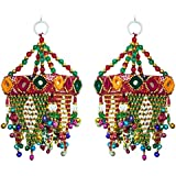 DollsofIndia 2 Cloth Wall Hangings With Mirror & Bead Work - 7.5x3x3 In. Each