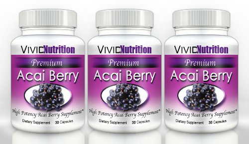Premium Acai (3 Bottles) - High Potency, Pure Acai Berry - All-Natural Weight Loss, Colon Cleanse, Detox, Antioxidant Superfood Supplement. 515Mg Per Capsule