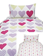 2 Pack Heart & Dot Print Bedsets