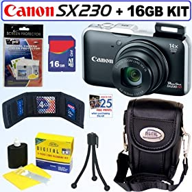 Canon PowerShot SX230HS 12 MP Digital Camera (Black) + 16GB Accessory Kit