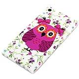 DeinPhone Coque Huawei Ascend P6 de grandes fleurs color�es en forme de chouette Violet