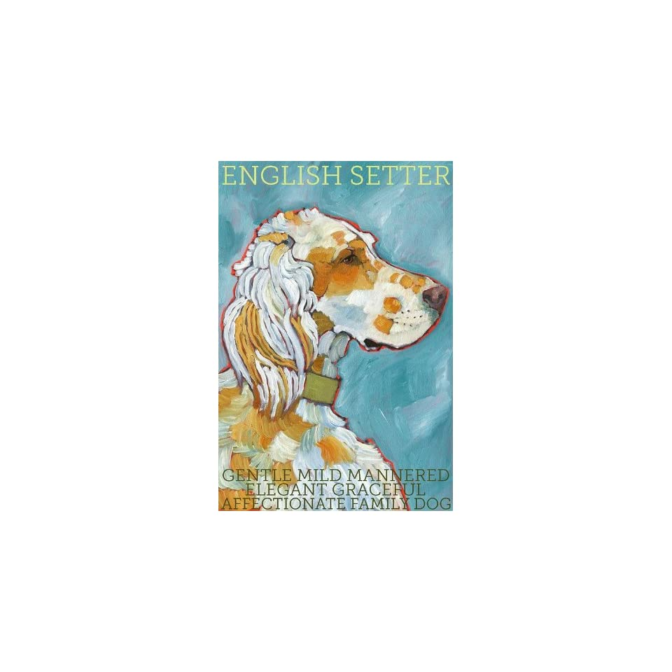 Colorful English Setter Dog Print from Original Oil by Ursula Dodge   finished size 8.5 x 11