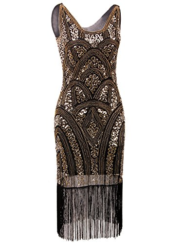 Vijiv 1920s Vintage Inspired Sequin Embellished Fringe Prom Gatsby Flapper Dress, Small, Gold