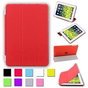 BESDATA® Pour Apple iPad mini Housse Magnétique Smart Cover + Coque Arrière Dure Stylus Gratuit- Qualité Suprême - Protéger l'équipement - FR Stock - Rouge - PT2503