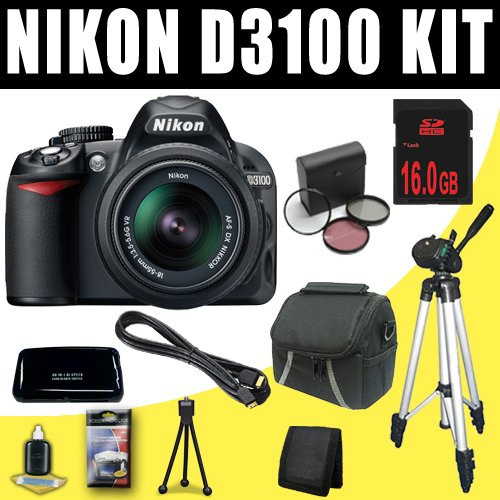 Nikon D3100 14.2MP Digital SLR Camera with 18-55mm f/3.5-5.6 AF-S DX VR Nikkor Zoom Lens + 16GB Deluxe Accessory Kit