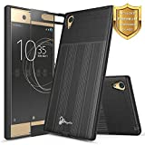 Xperia XA1 Ultra Case with FREE [Full Cover Tempered Glass Screen Protector], NageBee [Brushed] Heavy Duty Defender Dual Layer Protector Case For Sony Xperia XA1 Ultra (Black)
