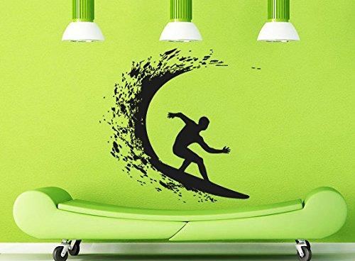 Wall Decal Vinyl Sticker Decals Art Decor Design Surfer Surf Doard Desk Vawes Palms Hawaii Sea Beach Gift Kids Sport Bedroom (R1131) front-776663