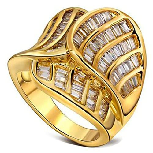 (キチシュウ)Aooazジュエリー 18Kゴールドメッキ 女性用リング指輪 エレガントデザイン プリンセスカット AAA CZ入り ゴールド 婚約 結婚指輪 日本サイズ21号