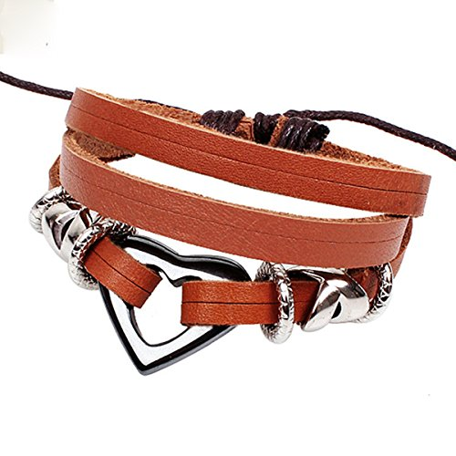 Nice Buckeye Antiqued Style Engraved Heart Shaped Plates Studded Orange Adjustable Length Leather Bracelet