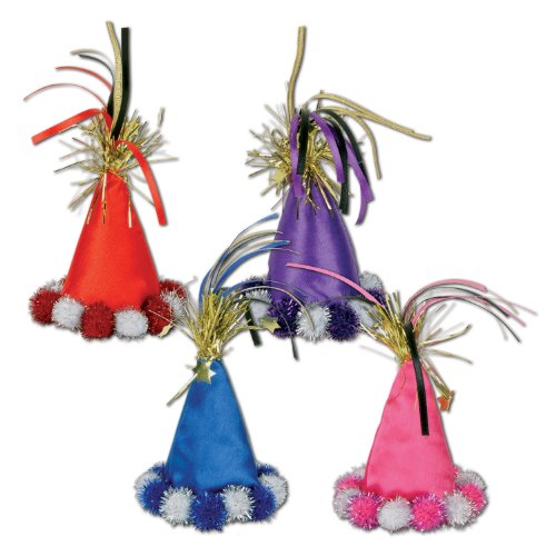 Cone Hat Hair Clips (asstd colors) Party Accessory  (1 count) (1/Pkg)