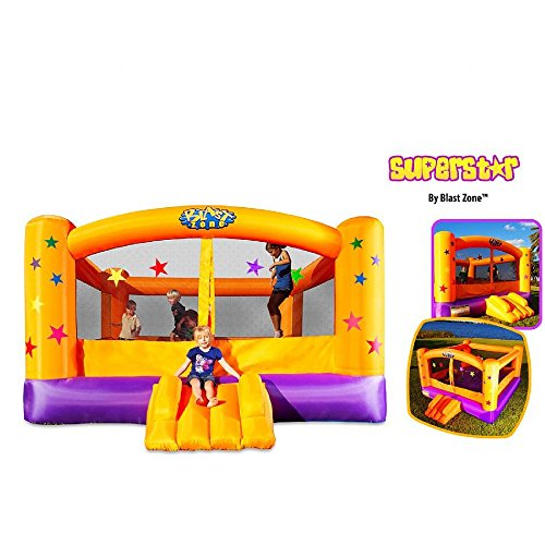 Kids Super Mighty Fun Inflatable Air Bouncy Trampoline Indoor Outdoor Superstar Bounce House Slide (Superstar Bounce House compare prices)