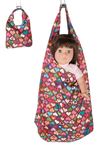 """18 Inch Dolls Clothes/clothing Accessories Fits American Girl - 18"""" Doll Carrier with Matching Doll Purse - Multi-color Rainbow Heart Print Design"""