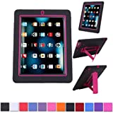 HDE Heavy Duty Kid Proof Hybrid Shockproof Case - Silicone Skin Case & Hard Protector Cover Case with Kick Stand for Apple iPad 2/3/4 with Retina (Hot Pink Trim)
