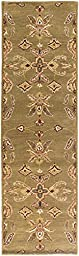 Green Rug Classic Design 2-Foot 3-Inch x 14-Foot Hand-Made Traditional Wool Carpet