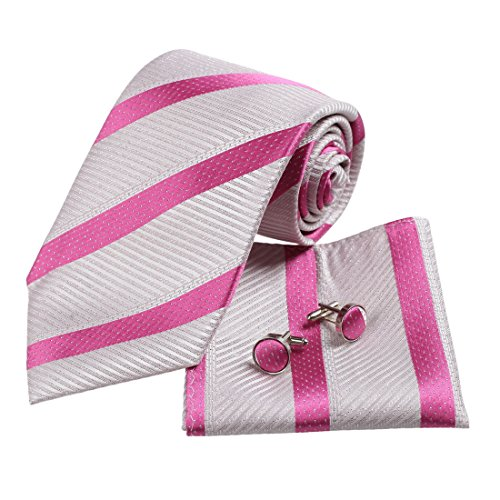 H5021 White Striped Birthday Gifts Graduation Gift Idea Silk Ties Cufflinks Hanky Set 3PT By Y&G