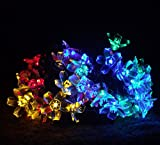 M&T TECH 50 LED Blossom Solar Powered Garden String Lights for Outdoor Patio Tree Window Christmas Holiday Wedding Waterproof-Multi Color