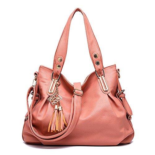 Koson-Man tracolla a spalla da donna, con nappe, 2 pezzi, con borsa Tote Bags, rosa (Rosa) - KMUKHB219