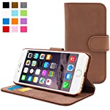 iPhone 6 Case, SnuggTM - Brown Leather Wallet Cover and Stand with Card Slots & Soft Premium Nubuck Fibre Interior - Protective Apple iPhone 6 Flip Case - Includes Lifetime Guarantee