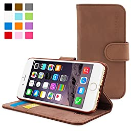 Snugg Leather Wallet Case for Apple iPhone 6 - Distressed Brown