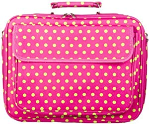 Pink and Green Polka Dots Padded Laptop Notebook Computer Bag by World Traveler