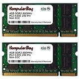 Komputerbay - Memoria SODIMM para portátiles (4 GB, 2 x 2 GB, DDR2, 800 MHz, PC2-6300, 200 pines) 8GB 2x4GB