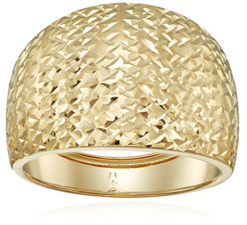14k Yellow Gold Italian Bold Diamond-Cut Dome Band Ring, Size 8 (Gold Italian Ring compare prices)