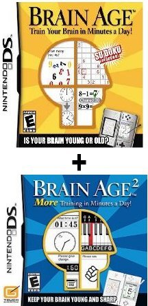 (2) Games - Brain Age Part 1 and 2 Bundle For Nintendo DS. Train Your Brain!