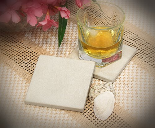 Fall Clearance Sale - Drink Coasters SouvNear Set of 2 Sandstone Drink Coasters 4 Inch Natural Moonlight White Square Absorbent Stone (Coupon Spirit Halloween)