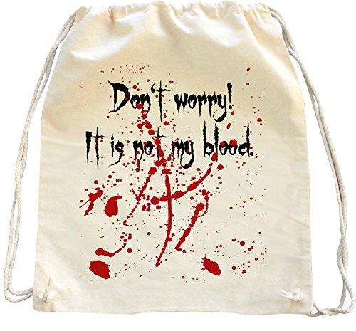 Mister Merchandise Zaino Borsa Sacco DonŽt Worry, itŽs not my Blood , Colore: Naturale