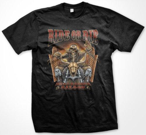 Ride Or Die, Hellraiser Saloon Mens T-shirt, Skeleton Riding Motorcycle Mens Tee Shirt, XXX-Large, Black