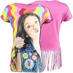 Disney Soy Luna - T-shirt Maglietta Maniche Corte Full Print con Frangie - Bambina - Novità Prodotto Originale 95805D [Fucsia - 14 anni]