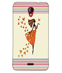 Fuson Butterfly Pattern Girl Back Case Cover for MICROMAX UNITE 2 A106 - D3902