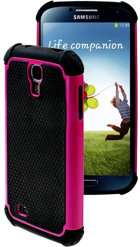 "Mylife (Tm) Rose Pink And Black - Rugged Design (2 Piece Hybrid Bumper) Hard And Soft Case For The Samsung Galaxy S4 ""Fits Models: I9500, I9505, Sph-L720, Galaxy S Iv, Sgh-I337, Sch-I545, Sgh-M919, Sch-R970 And Galaxy S4 Lte-A Touch Phone"" (Fitted Back So"