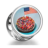 Soufeel 925 Sterling Silver Cupcake American Flag Independence Day round Photo Charms Fit Bracelets