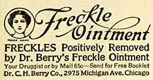 1919 Ad Dr. C H Berry Co Freckle Ointment Treatment Removal Beauty Products - Original Print Ad