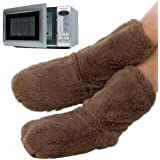 New Quality Soft Fleece Natural Linseed Snuggle Boots/Slippers Microwaveable In Zipper Bag