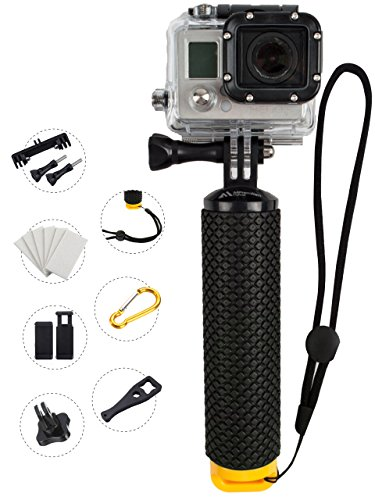 ProFloat Waterproof Floating Hand Grip compatible with all GoPro Cameras Hero 4 Session Black Silver Hero 2 3 3+ 4. Handler & Handle Mount Accessories Kit & Water Sport Pole for Action Camera (Yellow) (Shot Ski Bracket compare prices)