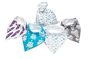 Shuby Dooby Hipster Baby Bandana Bibs, Unisex 4 Pack Absorbent Cotton, Modern Baby Gift for Boys & Girls with Free Bag