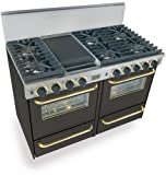"""48"""" Pro-Style Natural Gas Range with 6 Sealed Ultra High-Low Burners 2.92 cu. ft. Convection Ovens Manual Clean Broiler Ovens and Double Sided Grill/Griddle Black with Brass"""
