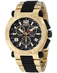 Invicta Men's 1871 Reserve Chronograph Black Dial 18K Gold Ion-Plated Stainless Steel Watch
