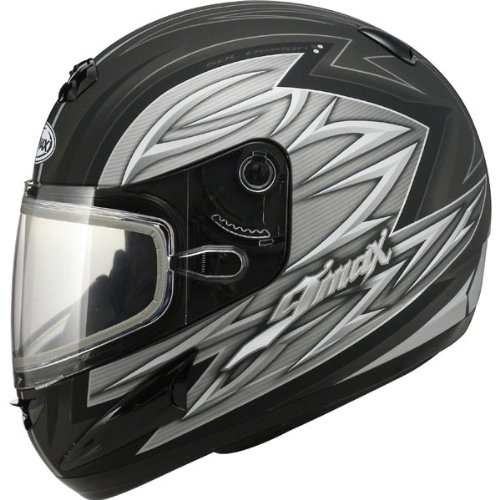 Gmax Gm38S Men'S Snow Racing Snowmobile Helmet - Dark Silver/Silver/White / Large
