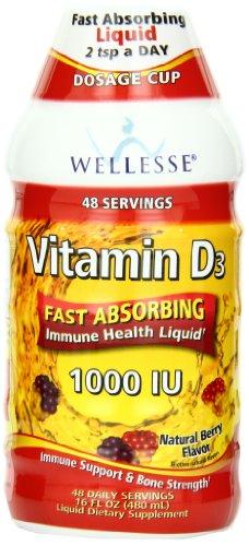 Wellesse Vitamin D3 Liquid 1000 Iu, Natural Berry Flavor, 16 Ounce Bottle (Pack Of 3)