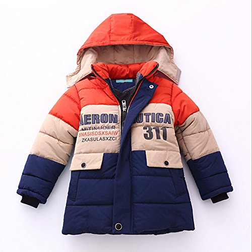 Highdas Boy Winter Warmer Kapuzen Patchwork Jacken Kinder Mantel Baumwolle Thick Jacken orange L