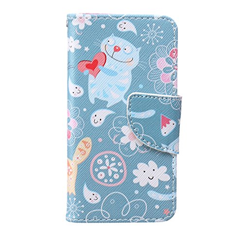 iPod Touch 5 Case, iPod Touch 6 Case, Shanmei PU Leather Folio Wallet Flip Case, [Stand Feature] [Card Slots] [Magnetic Closure] Cover Case for Apple iPod Touch 5th 6th Generation (Love Heart Cat) (Ipod 5th Generation Bulldog Cases compare prices)