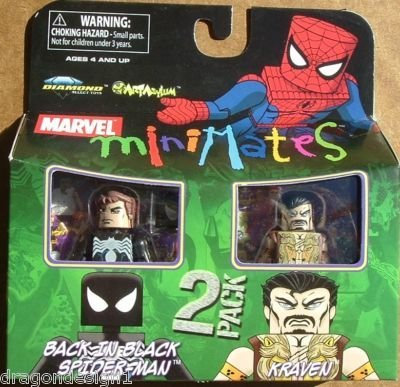 Picture of Art Asylum Marvel MiniMates Series 24 Mini Figure 2-Pack Back In Black Spider-Man and Kraven (B001QMVNPW) (Spider-Man Action Figures)