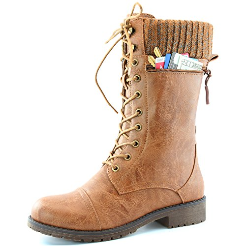 Women's DailyShoes Combat Style Lace up Ankle Bootie Round Toe Military Knit Credit Card Knife Money Wallet Pocket Boots, Tan