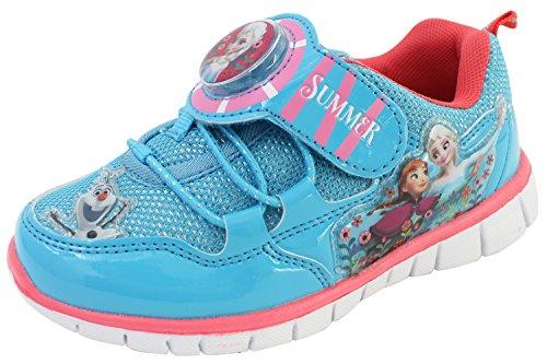 Disney Frozen Elsa Anna Girl's Light Up Sneakers Blue Shoes